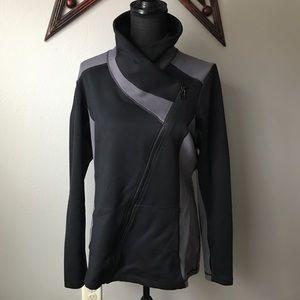 CAbi #989 Black/Gray colorblock Dash zip up jacket
